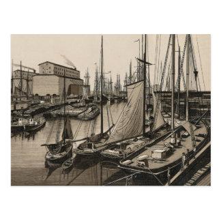 Slip C from Randolph St. Viaduct, Chicago, C. 1880 Postcard