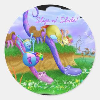 Slip n' Slide! Round Sticker