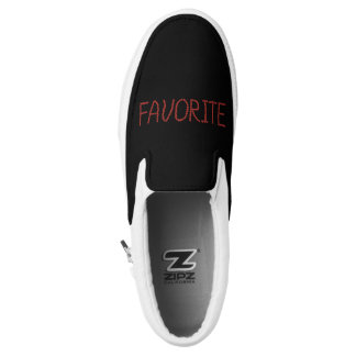 Slip on shoes with 'favorite' printed shoes