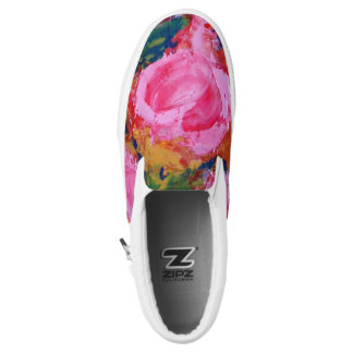 Slip On Sneakers with Blooming Roses
