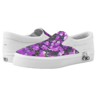 SLIP ON'S - PRETTY PURPLE PEDALS PRINTED SHOES