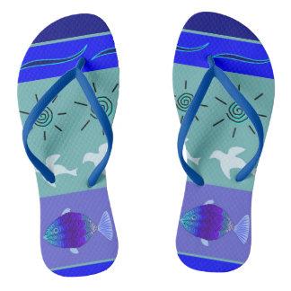 Slipper beach sea blue nature flip flops
