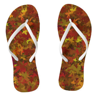 Slipper leaves autumn flip flops