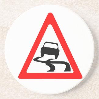Slippery Road Warning Symbol Coaster