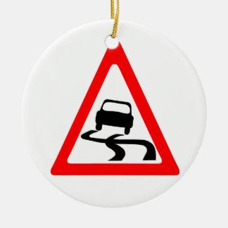 Slippery Road Warning Symbol Round Ceramic Decoration