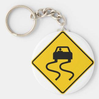 Slippery When Wet Highway Sign Key Ring