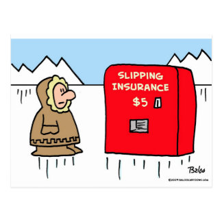 slipping insurance eskimo postcard