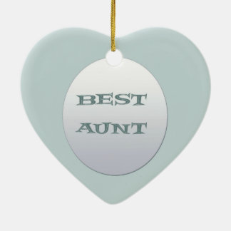 Sliver/Blue Best Aunt Ceramic Heart Decoration