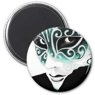 Sliver Flair Mask in Green 6 Cm Round Magnet