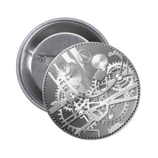 Sliver steampunk watch gears 6 cm round badge