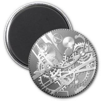 Sliver steampunk watch gears 6 cm round magnet