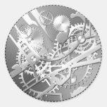 sliver steampunk watch gears round sticker