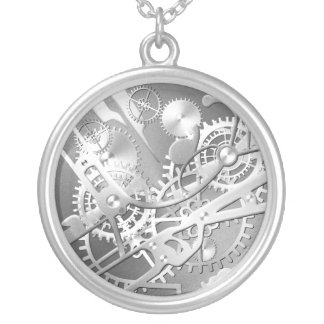 Sliver steampunk watch gears silver plated necklace
