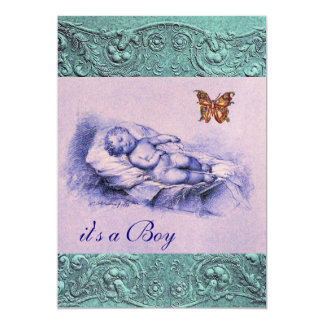 SLLEPING CHILD AND BUTTERFLY PINK BLUE BABY SHOWER 13 CM X 18 CM INVITATION CARD