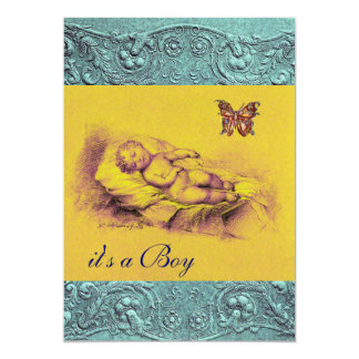 SLLEPING CHILD ,BUTTERFLY YELLOW BLUE BABY SHOWER 13 CM X 18 CM INVITATION CARD