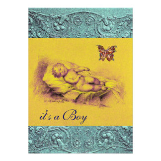 SLLEPING CHILD BUTTERFLY YELLOW BLUE BABY SHOWER PERSONALIZED ANNOUNCEMENT