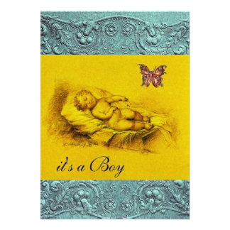 SLLEPING CHILD BUTTERFLY YELLOW BLUE BABY SHOWER ANNOUNCEMENTS