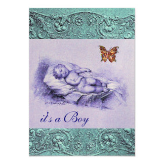 "SLLEPING CHILD WITH BUTTERFLY BLUE BOY BABY SHOWER 5"" X 7"" INVITATION CARD"