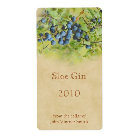 Sloe gin bottle label shipping label