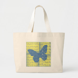 Slogan Butterfly Large Tote Bag