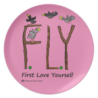 Slogan FLY First Love Yourself Plates
