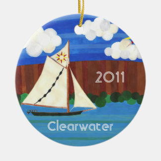 Sloop Clearwater Double-Sided Ceramic Round Christmas Ornament