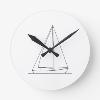 Sloop Sail Plan Sailing Logo Wallclock