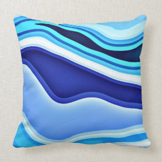 Slopes Blue and White Abstract Pillows