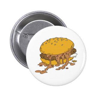 sloppy chili burger 6 cm round badge