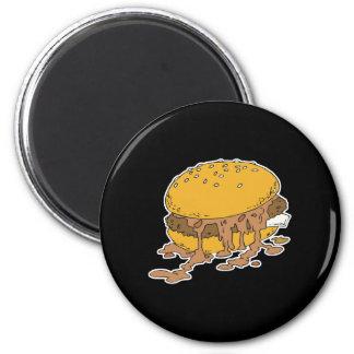 sloppy chili burger 6 cm round magnet