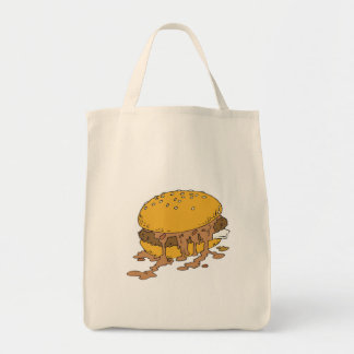 sloppy chili burger grocery tote bag