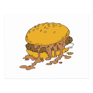 sloppy chili burger postcard