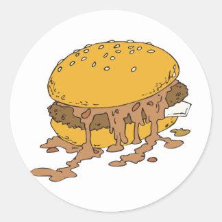 sloppy chili burger round sticker