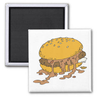 sloppy chili burger square magnet