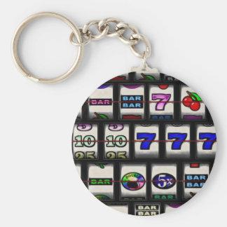 Slot Machine Reels Basic Round Button Key Ring