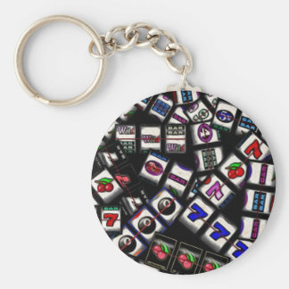Slot Machine Reels Collage Basic Round Button Key Ring