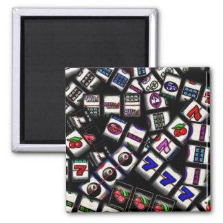 Slot Machine Reels Collage Square Magnet