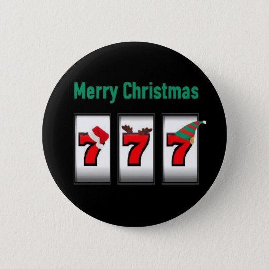 Slot Player 777 Merry Christmas Magnet 6 Cm Round Badge