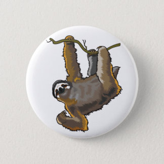 sloth 6 cm round badge