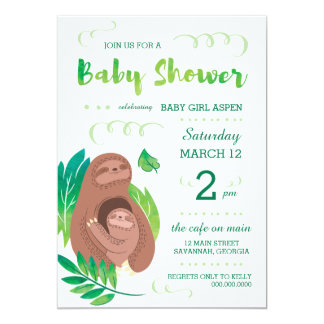 Sloth Baby Shower Rainforest Jungle Theme Card
