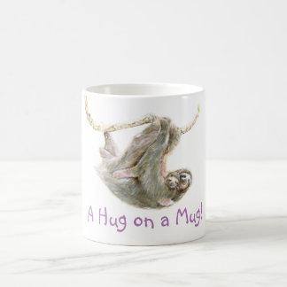 "Sloth, baby with mum ""A Hug on a Mug"" Basic White Mug"