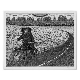 Sloth Bear on Motorbike #2 Poster