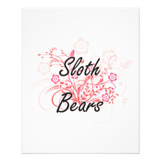 Sloth Bears with flowers background 11.5 Cm X 14 Cm Flyer