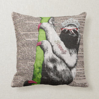 Sloth Beauty Queen Throw Pillow