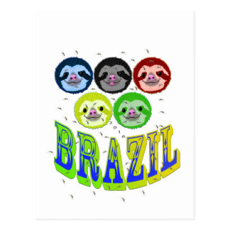 sloth faces brazil 2016 with mosquitos postcard