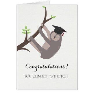 Sloth Graduation Card with maroon tassel
