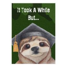 Sloth Graduation Invitation Invitations