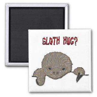 Sloth Hug Baby Sloth Square Magnet