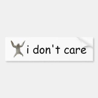 sloth - i don't care bumper sticker