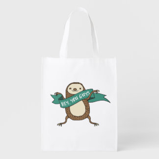 """Sloth Illustration """"Hey You Guys"""" Reusable Grocery Bag"""